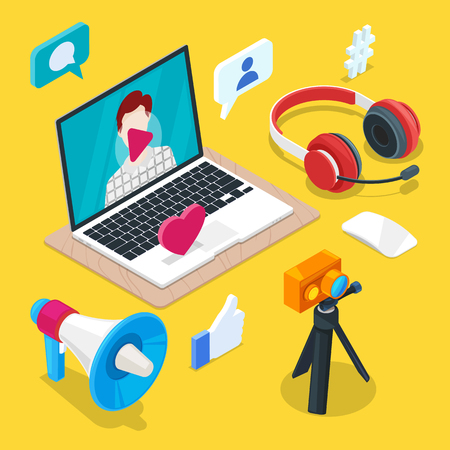 Blogging and social media content creation. Photo or video blog vector 3d isometric icons. Internet business concept.