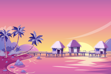 Tropical island pink sunset landscape. Vector cartoon illustration. Palms, beach and bungalows in the ocean. Summer travel background. Illustration