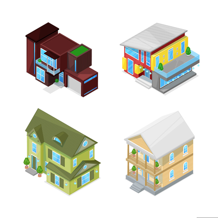 Classical and modern houses set. 3d isometric style vector isolated illustration. Real estate icons. Vettoriali