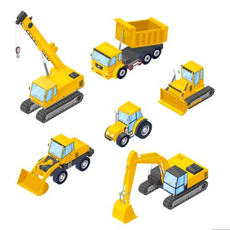 Macchine speciali icone isolate. Illustrazioni isometriche di stile 3d vettoriale di escavatore, pala gommata, bulldozer, trattore, dumper, gru. Vettoriali