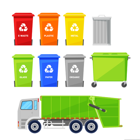 Sorting and recycling waste. Garbage multicolor baskets, bin, container and garbage truck, vector flat icons set.