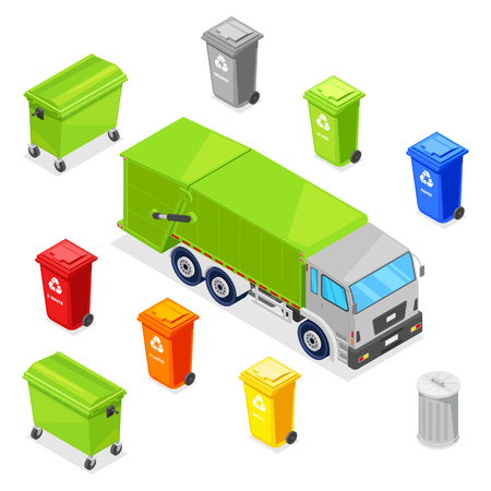 Sorting and recycling waste. Garbage multicolor baskets, bin, container and garbage truck, vector 3d isometric icons set.