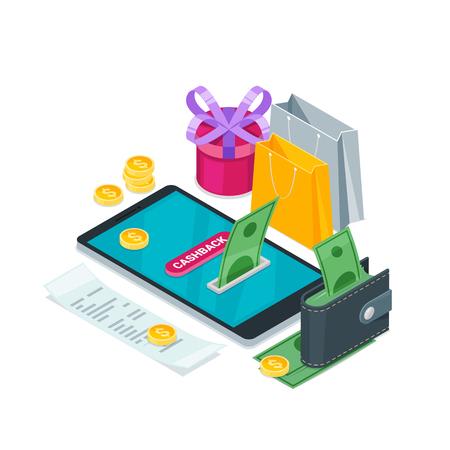 Cashback money, online service concept. Vector isometric 3d illustration. Icons for cash back, commerce or transfer payments mobile apps. Reklamní fotografie - 102978555