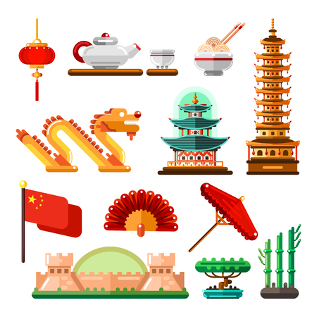 Travel to Asia, China icons and isolated design elements set. Vector Chinese culture symbols, landmarks and food. Illustration