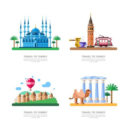 Travel to Turkey design elements. Istanbul blue mosque, Cappadocia, Galata tower vector isolated illustration.  イラスト・ベクター素材