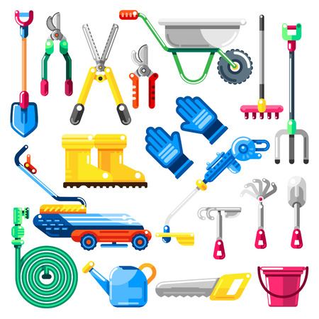 Gardening and farming tools and equipment, vector icons and design elements set. Agriculture illustrations.