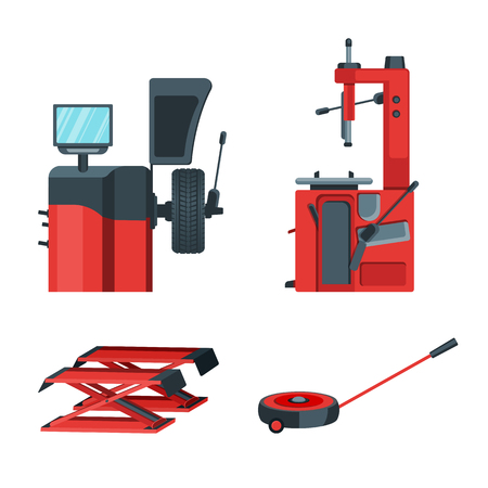 Cars tire balancing and fitting equipment. Automobile jacks isolated vector illustration. Diagnostic and replacement wheels service. Illustration