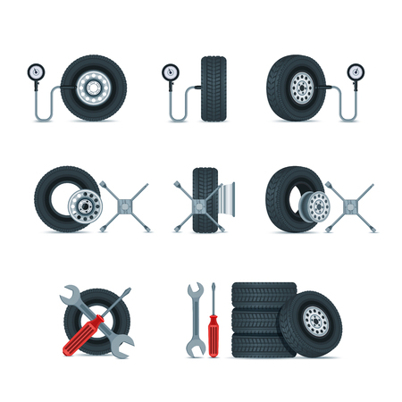 Pressure diagnostic and replacement wheels tools. Automobile tires, discs, screwdriver, wrench, cross key vector icons set. Car service design elements. Illustration
