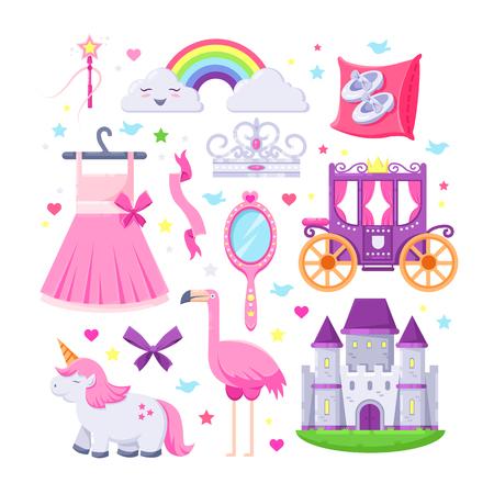 Jeu d'icônes petite princesse rose. Illustration vectorielle de licorne, château, couronne, flamant rose, robe de filles, arc-en-ciel et calèche.