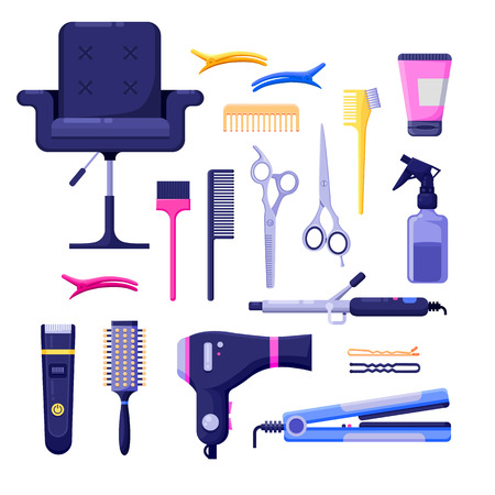 Beauty salon colorful icons and vector design elements. Hair hairdresser tools and equipment isolated on white background.