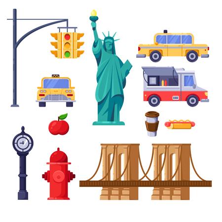 New York city symbols set. Vector travel isolated illustration. Yellow taxi, Statue of Liberty, Brooklyn Bridge, street fast food truck icons.