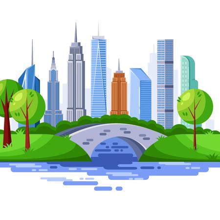 New York central park and urban skyscraper buildings. Vector cityscape illustration.