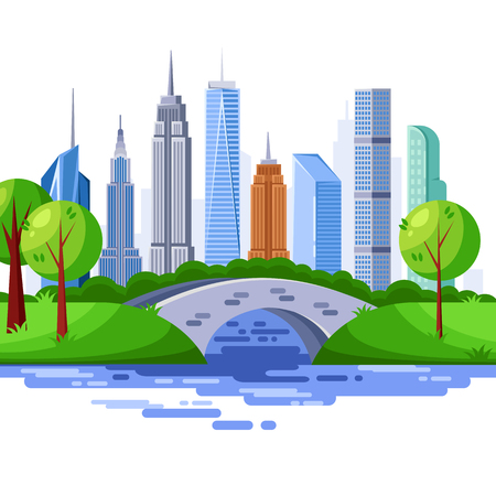 New York central park and urban skyscraper buildings. Vector cityscape illustration. Stockfoto - 104215878