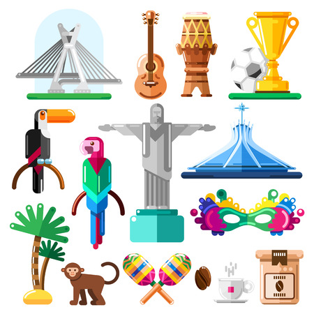 Travel to Brazil vector icons and design elements. Brazilian national symbols and landmarks flat illustration.