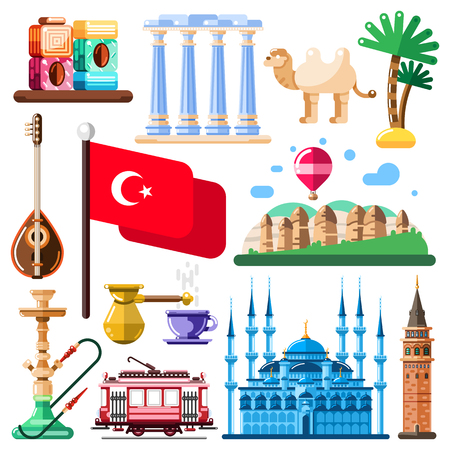 Travel to Turkey vector icons and design elements. Turkish national symbols and landmarks flat illustration. Illustration
