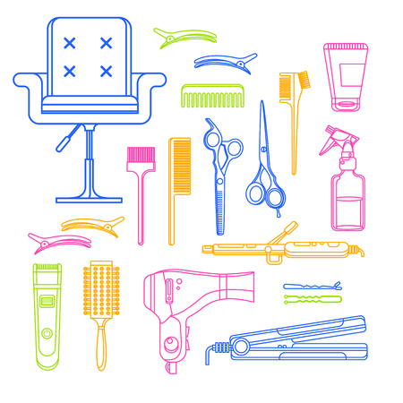 Beauty salon vector linear icons and design elements. Hair hairdresser tools and equipment isolated on white background.