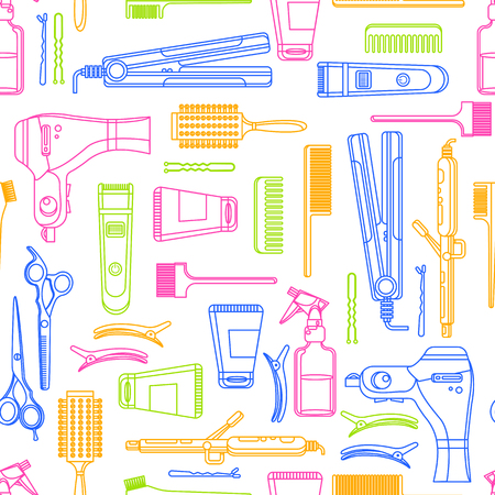 Beauty salon vector seamless pattern. Colorful outline hair hairdresser tools and equipment. Fashion textile print or background design.