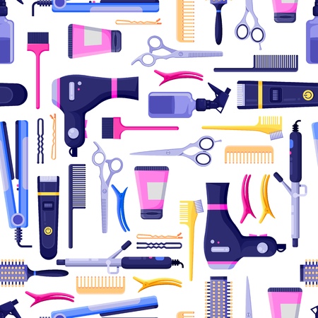 Beauty salon vector seamless pattern. Colorful hair hairdresser tools and equipment. Fashion textile print or background design.