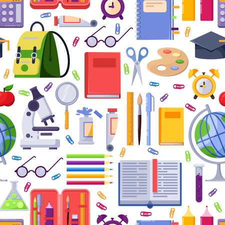 Back to school vector seamless pattern. Colorful education stationery supplies and tools. Fashion textile print or background design.