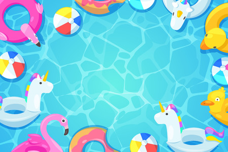 Swimming pool frame. Colorful floats in blue water, vector cartoon illustration. Kids inflatable toys flamingo, duck, donut, unicorn. Summer fun background. Stock Illustratie