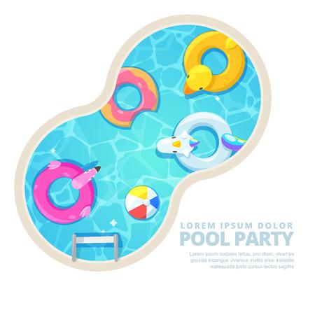 Piscina de círculo aislado, ilustración de dibujos animados de vector. Cartel de verano, diseño de banner. Unicornio, flamenco, pato, pelota, donut lindo flota en el agua. Fondo de vacaciones divertidas.