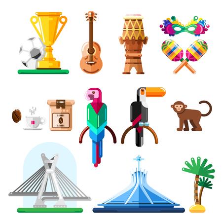 Travel to Brazil vector icons and design elements. Brazilian national symbols and landmarks flat illustration.