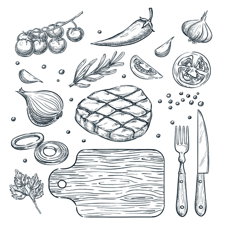 Cooking meat steak, vector sketch illustration. Set of isolated hand drawn food ingredient, vegetables, spices. Restaurant, steak house menu design elements. Vettoriali