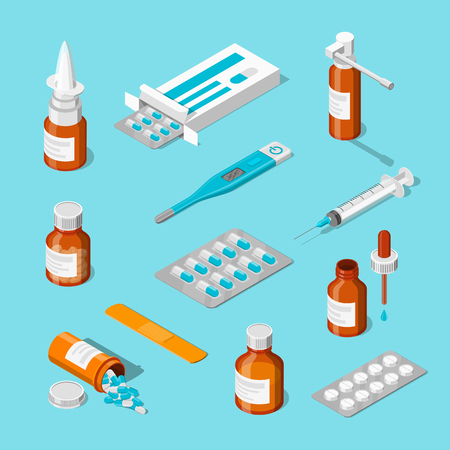 Pharmacy, medicine and healthcare vector 3d isometric icons set. Pills, drugs, bottles flat illustration. Stock Photo