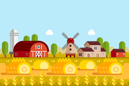 Farming and agriculture concept. Vector flat illustration of wheat fields, mill, village houses. Rural farmland landscape background. Stock Photo
