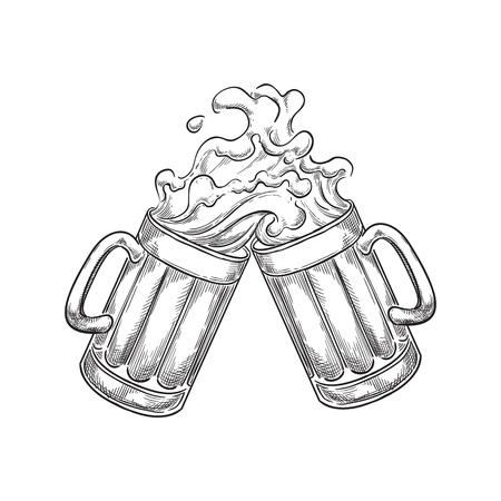Two toasting beer mugs with splash drinks, sketch vector illustration. Hand drawn label design elements.