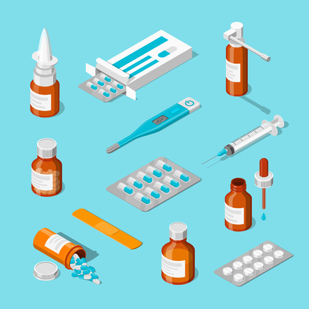 Pharmacy, medicine and healthcare vector 3d isometric icons set. Pills, drugs, bottles flat illustration