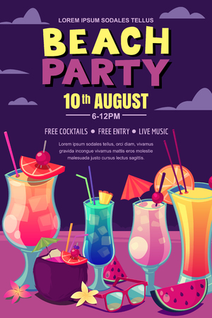 Cocktails party on the night beach. Vector poster, banner layout. Tropical bar background with alcohol cocktails on sand. Cartoon style illustration.