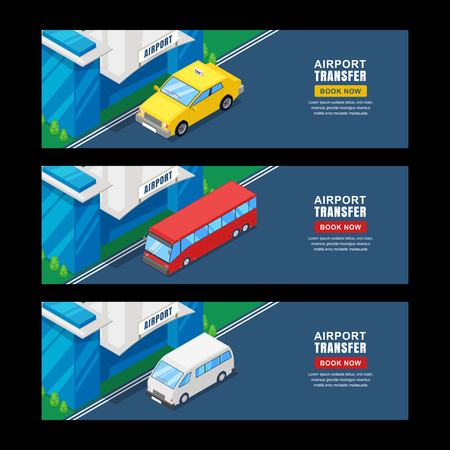 Airport transfer, vector isometric 3D illustration. Set of horizontal banner or flyer template. Taxi, shuttle bus travel service. Illustration