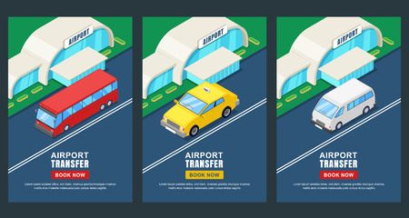 Airport transfer, vector isometric 3D illustration. Banner, poster, flyer layout. Taxi or shuttle bus travel service.