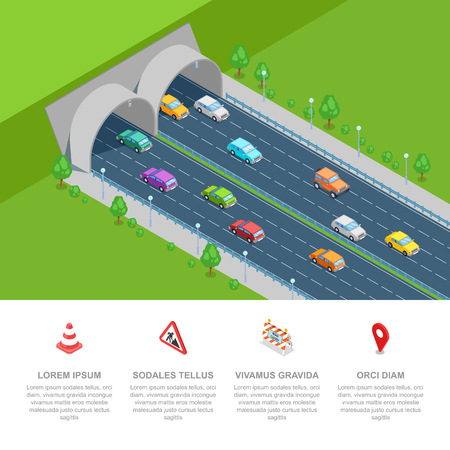 Tunnel road vector isometric 3D illustration. Transport and modern highway road construction concept. Business presentation infographic template.