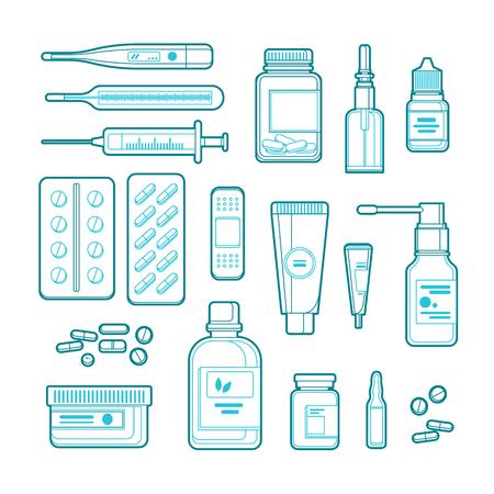 Illustration d'art de ligne vectorielle de pharmacie, de médecine et de soins de santé. Décrivez les pilules, les médicaments, les icônes de bouteilles et les éléments de conception.