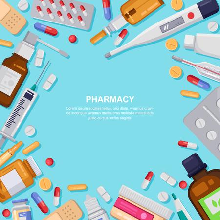 Cadre carré de pharmacie avec pilules, médicaments, flacons médicaux. Illustration plate de vecteur de pharmacie. Bannière de médecine et de soins de santé, fond d'affiche avec espace de copie. Vecteurs