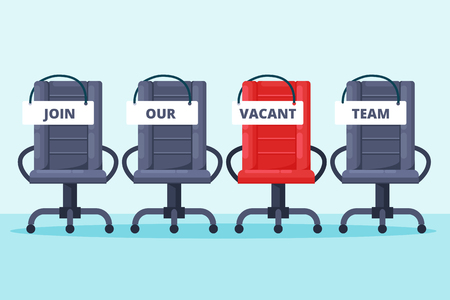 Recruitment and hiring concept. Empty grey and red office chairs with join our team words. Vacancy job vector flat illustration.