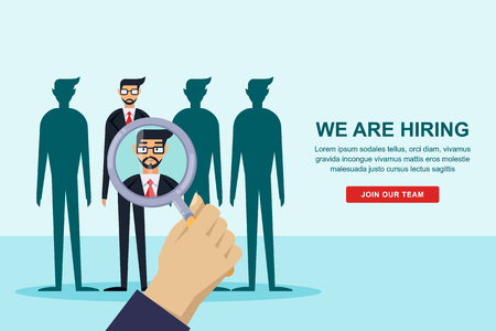 Human resources interview concept. Recruitment and hiring banner or poster design template. Employee candidate for the vacancy, vector flat illustration.