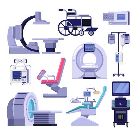 Matériel de diagnostic et d'examen médical. Illustration vectorielle de scanner IRM, chaise de gynécologie et de dentiste, fauteuil roulant, transfusion sanguine, cardiographe, échographie, machine à rayons X de radiologie.