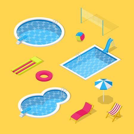 Piscina all'aperto e parco acquatico vettore 3d icone isometriche ed elementi di design impostati. Ombrellone, scivoli d'acqua, giocattoli gonfiabili e illustrazione piatta con chaise longue da spiaggia. Vettoriali