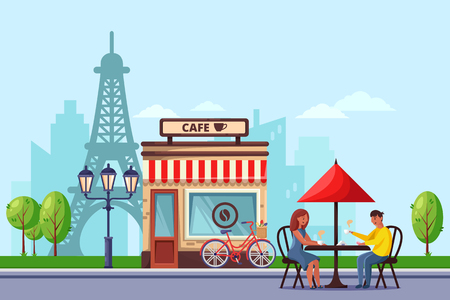 Young couple in Paris street cafe vector flat illustration. Man and woman drinking coffee on romantic dating. Travel to France design concept.