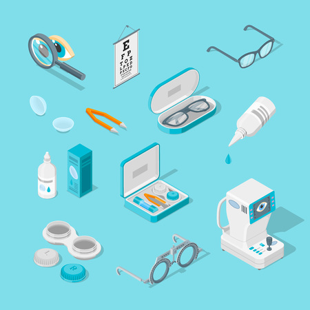 Eye care and health, vector 3d isometric icons set. Contact lenses, glasses, ophthalmology medical equipment flat illustration. Stock Illustratie