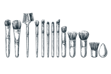 Makeup brushes vector sketch illustration. Female cosmetics design elements. Hand drawn isolated beauty tools. Illustration