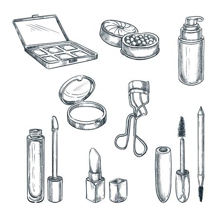 Illustrazione di schizzo di vettore di trucco cosmetici. Elementi di design della moda femminile. Prodotti di bellezza e cura isolati disegnati a mano.