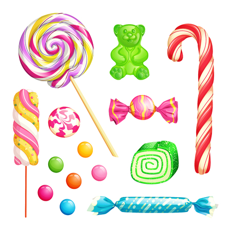 Candies isolated on white background. Vector desserts icons and design elements set. Multicolor sweet lollipops, marshmallow, cane, caramels and jelly bear. 矢量图像