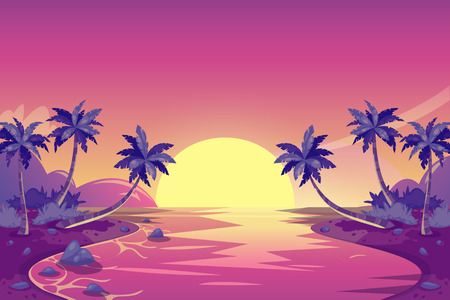 Tropical summer sunset. Vector cartoon island landscape illustration. Palm trees on the ocean beach. Romantic vacation background. Illustration