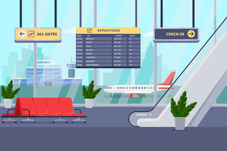 Airport terminal interior, flat illustration. Empty waiting lounge or departure hall with red chairs, escalator, panoramic window and airplane on background.