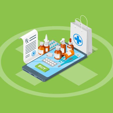 Online drugstore, vector 3d isometric illustration. Pills, drugs, bottles, prescription on smartphone screen. Flat illustration. Pharmacy mobile app concept.