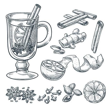 Glühweinrezept, Skizzenvektorillustration. Satz von isolierten handgezeichneten Gewürzen, Zutaten. Designelemente der Speisekarte für heiße Alkoholgetränke.
